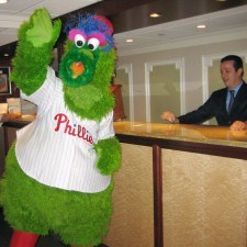 Phillie Phanatic checks in to check out The Radnor Hotel