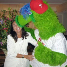 Anita Sayers, Executive Director of Marketing & PR for The Radnor gets a big Phanatic good-bye kiss!