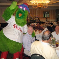 Phillie Phanatic concludes a breakfast meeting in the Terrace Room
