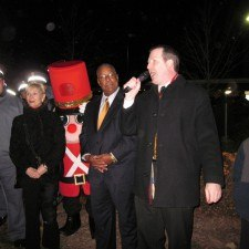 Brennan welcoming the community to the  tree lighting