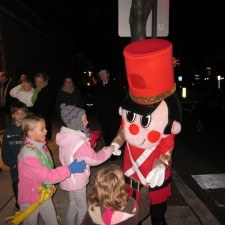 Toy Solider greeting children
