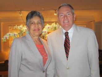 Senior Vice President Louis Prevost welcomes Carlotta Walls LaNier to The Radnor Hotel.