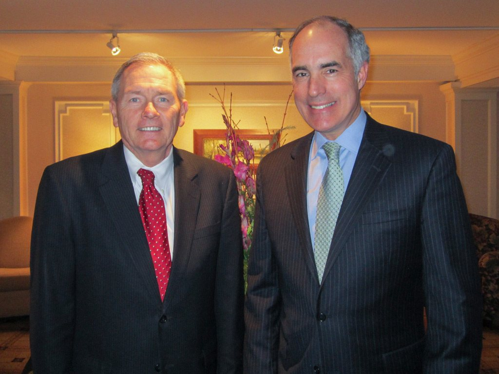 Senior Vice President of The Radnor Hotel, Louis Prevost with United States Senator Bob Casey