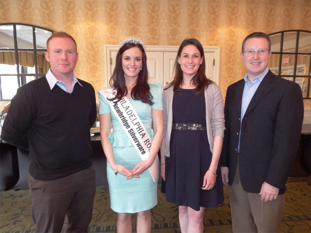 2013 Philadelphia Rose of Tralee, Brittany Killion with the 2014 Judges: Brendan Gallagher, Chairman of the Glenside Gaelic Athletic Association, Colleen Gallagher, 2007 Philadelphia Rose of Tralee and David Brennan, General Manager of the Wayne Hotel and Chair of the 2014 Philadelphia Rose Judging Panel