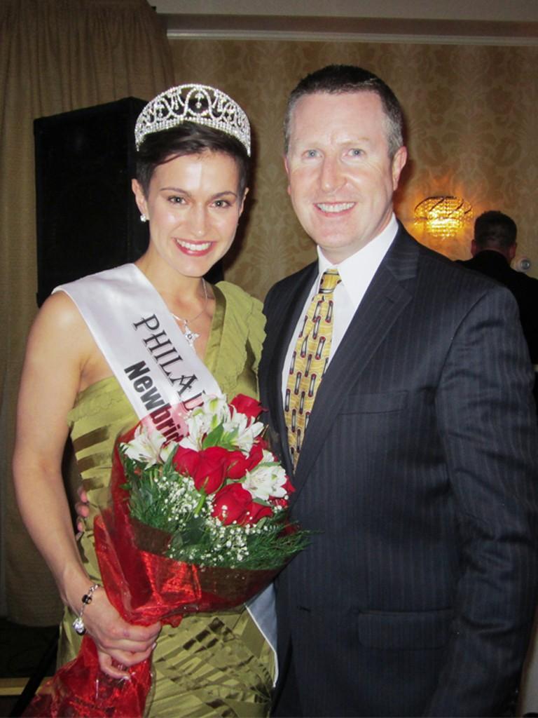 Maria Walsh, 2014 Philadelphia Rose, and David Brennan, General Manager of the Wayne Hotel