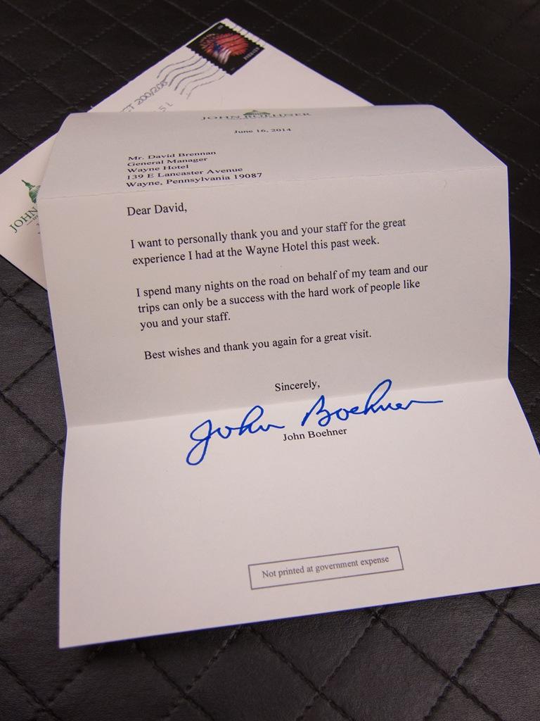Thank You Letter from John Boehner