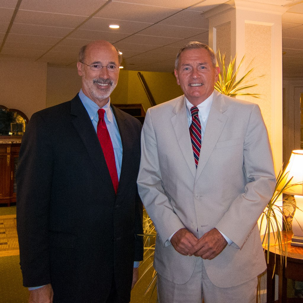 Tom Wolf and Lou Prevost at The Radnor Hotel