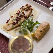 Dover Sole Veronique with Champagne Grapes, Salsify & Potato Gratin