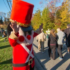 The Radnor Hotel's Toy Soldier cheers on the runners