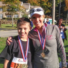 Collin Sayers, Boys Winner of the 1-Mile Fun Run and Cecily Tynan of 6abc Action News and returning Radnor Run participant