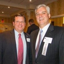 Chris Kovolski of Villanova University and Bernard Dagenais of the Main Line Chamber of Commerce