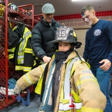 Kids dressed up as Fire Fighters at the Radnor Fire House on Friday evening