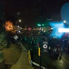 The Radnor High School Cheerleaders gave a spirited cheer as the crowd awaited the Tree Lighting