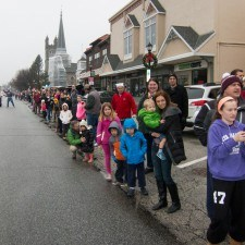 Families gathered along Lancaster Avenue for the Santa Parade