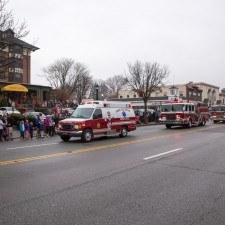 The Radnor Fire Company escorted Santa down Lancaster Avenue
