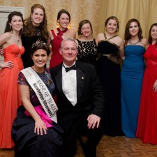 Rose candidates, Colleen Gallagher, Aisling Travers, Mairead Comaskey, Savannah Conneen, Shannon Hedden, Shaylynn McNally, and Katherine Fitzsimmons with Maria Walsh, 2014 International Rose of Tralee, and Kevin Dougherty, Philadelphia Common Pleas Judge