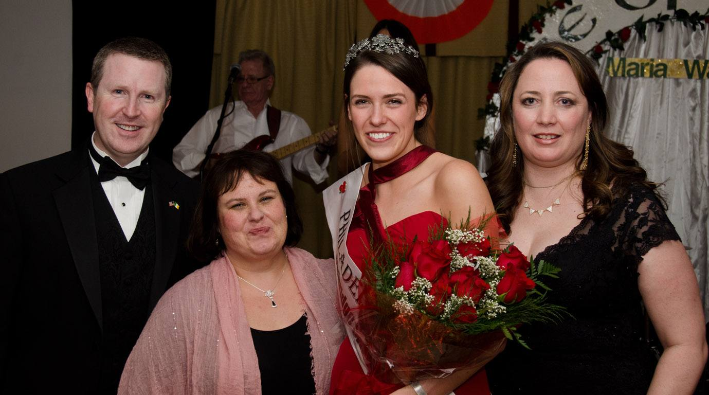 David Brennan, General Manager of Wayne Hotel and Chair of the Judging Panel, Lori Lander Murphy, and Kerri Donahue Meenagh with the 2015 Philadelphia Rose of Tralee, Mairead Comaskey