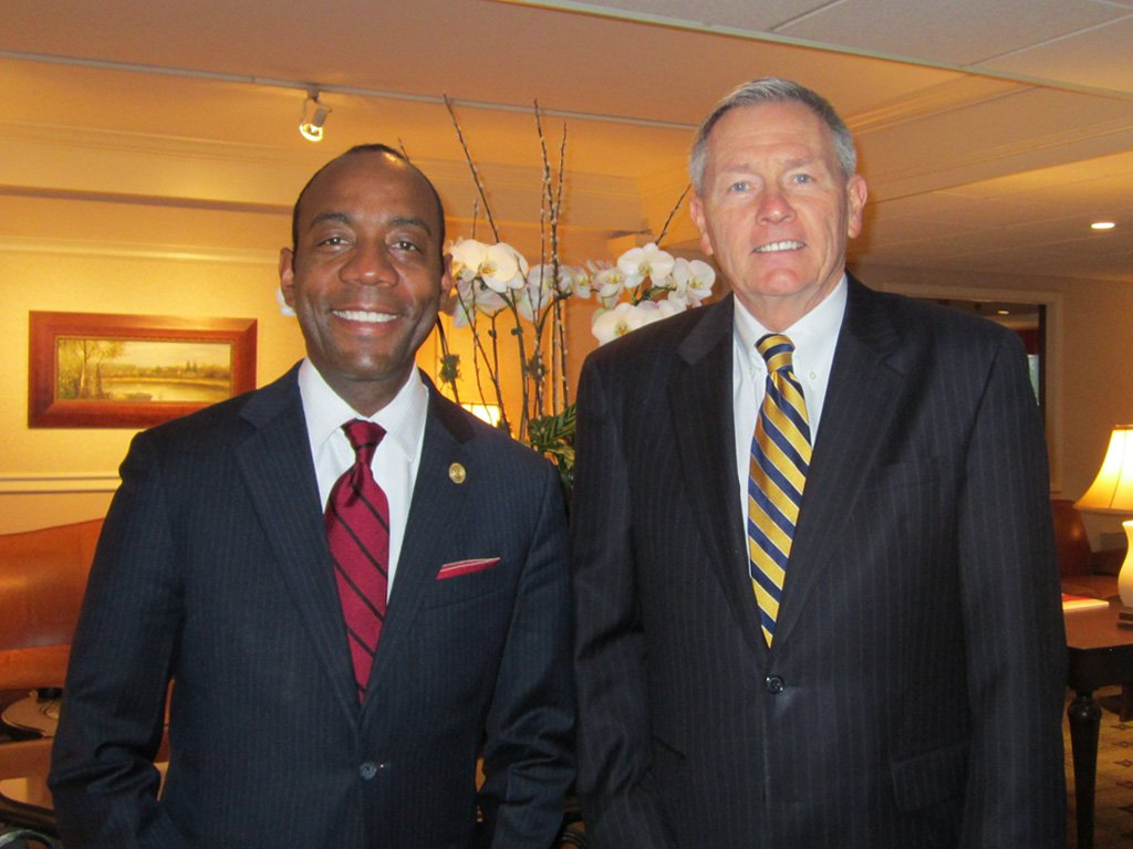 Cornell Brooks, President and CEO of the National Association for the Advancement of Colored People, with Lou Prevost, Senior Vice President and General Manager of The Radnor Hotel