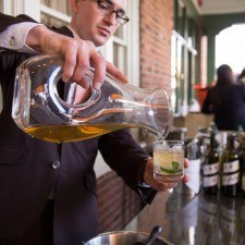 Steven Gullo (Paramour Sommelier & Beverage Director) pours Mint Juleps for Derby Guests