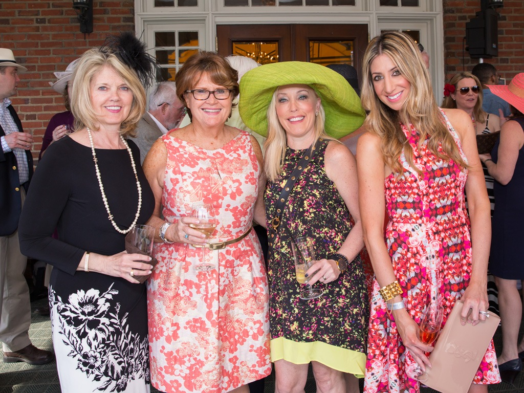 Derby guests Kathy Bajus, Mary Ruegg, Jennaphr Frederick, Kristy Sevag