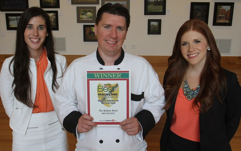 "The Radnor Hotel and Glenmorgan Bar & Grill's Food and Beverage Coordinator, Madeline Ostrander, Executive Chef, Robert Williams, and Director of Restaurant Operations, Holly Allen, accept the Main Line Media News Readers' Choice Award for ""Best Buffet"". (Photo Credit: Pete Bannan / Main Line Media News)"