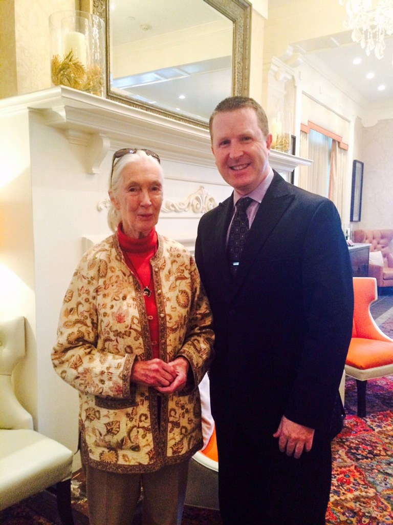 Dr. Jane Goodall with David Brennan at the Wayne Hotel