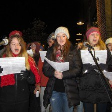 Radnor High School's choir brought Christmas cheer to the town