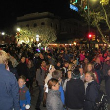 A crowd gathered on N. Wayne Ave in anticipation of the Tree Lighting Ceremony