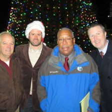 Keith Martin of Keith Martin Electric, Chris Todd, President of the Wayne Business Association, Vernon Odom, 6ABC Action News Reporter, and David Brennan, General Manager of the Wayne Hotel