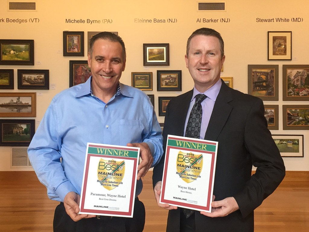 Joseph Amrani, General Manager of Paramour, and David Brennan, General Manager of the Wayne Hotel, accept the Main Line Media News Readers' Choice Awards for Paramour and Wayne Hotel.