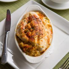 Broiled Flounder & Crab Imperial Mac n' Cheese Casserole