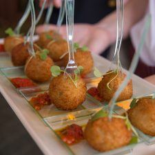 Spring Pea & Crawfish Arancini with Tomato Compote