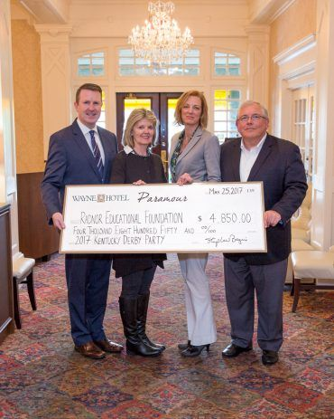 Pictured left to right: David Brennan (General Manager of Wayne Hotel), Kathy Bajus (Owner of Paramour and Wayne Hotel), Meg Haist (Director of Radnor Educational Foundation), John Reilly (President of Radnor Educational Foundation)