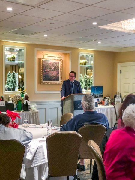 Steve Highsmith gave an engaging speech about the history of the Philadelphia Mummers Parade at The Delaware County Press Club's Holiday Luncheon