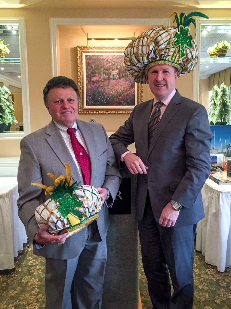 James May, award-winning Mummers costume designer, with David Brennan, VP of Hospitality Sales & Revenue Management for The Radnor, who is wearing an exact reproduction of the hat that Jason Kelce wore for the Super Bowl Parade