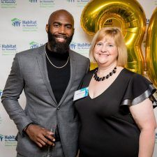 Malcolm Jenkins with Marianne Lynch, Chief Executive Officer at Habitat for Humanity of Montgomery and Delaware Counties