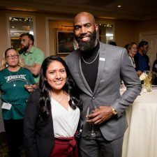 Malcolm Jenkins with Jessica Mishquiri, Banquet Supervisor at The Radnor Hotel