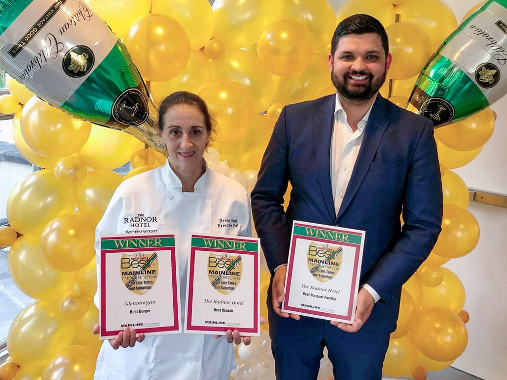 Denise Gesek, Executive Chef for The Radnor Hotel and Glenmorgan Bar & Grill, and Sachin Siwach, Director of Food & Beverage Operations for Main Line Hotels, accepted the Main Line Media News Readers' Choice Awards for The Radnor Hotel and Glenmorgan Bar & Grill