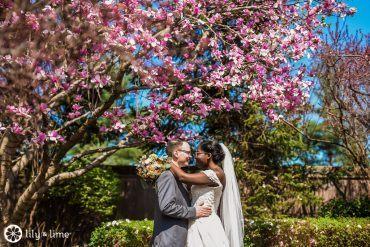 Bride and Groom in The Radnor Hotel Formal Gardens